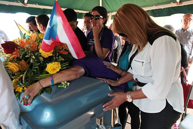 <p>Friends and family attend the funeral for Franky Jimmy De Jesus Velazquez, one of the victims of the shooting at the Pulse night club in Orlando, in his hometown of Caguas, Puerto Rico, June 21, 2016. (REUTERS/Alvin Baez) </p>