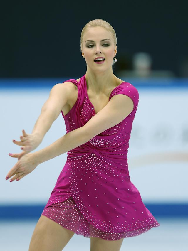 SOCHI, RUSSIA - DECEMBER 08: Kiira Korpi of Finland performs in the Ladies Free Skating during the Grand Prix of Figure Skating Final 2012 at the Iceberg Skating Palace on December 8, 2012 in Sochi, Russia. (Photo by Julian Finney/Getty Images)