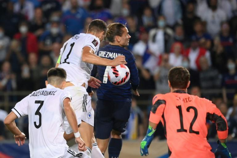 Antoine Griezmann diverted the ball in for France's equaliser in their 1-1 draw with Bosnia and Herzegovina (AFP/FRANCK FIFE)