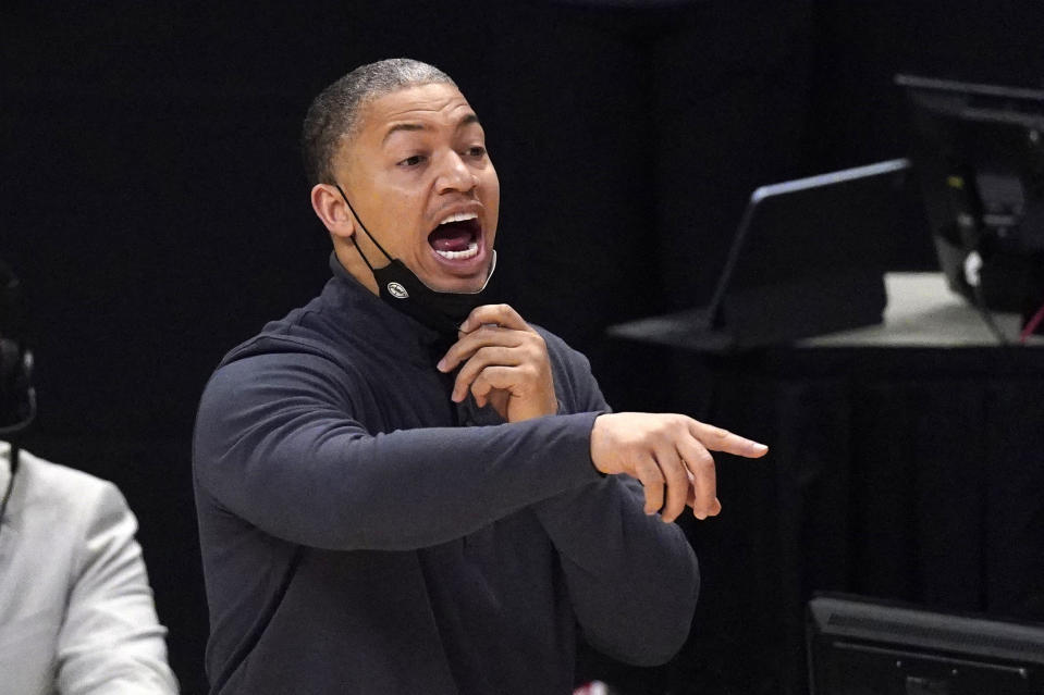 Los Angeles Clippers head coach Tyronn Lue gestures during the first half in Game 5 of an NBA basketball first-round playoff series against the Dallas Mavericks Wednesday, June 2, 2021, in Los Angeles. (AP Photo/Mark J. Terrill)