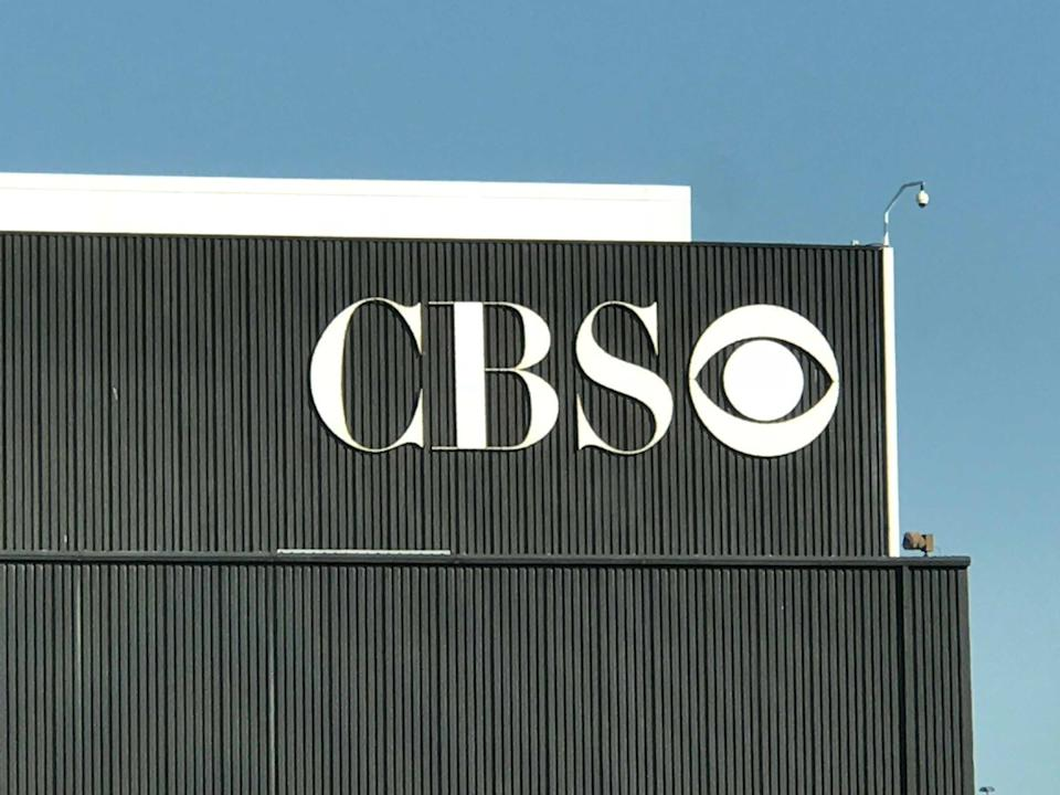 The CBS logo on top of a building at the CBS Television City Studios Lot on Fairfax Avenue and Beverly Boulevard, in the Fairfax District of Los Angeles.