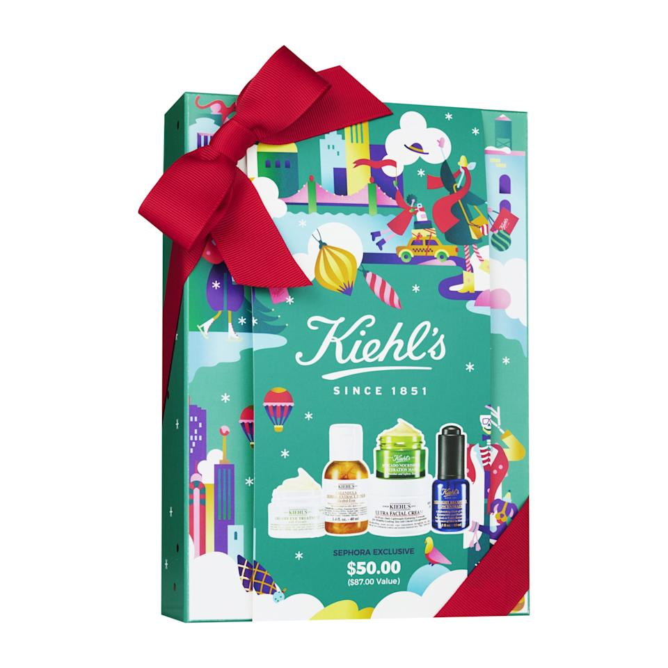 """<p>There's one Kiehl's fan in every family, and this festive set is <em>exactly</em> what they're hoping for under the tree. The five-piece kit contains a mix of skin-care staples and spa-ready masks, including all-time favorites <a href=""""https://www.allure.com/story/kiehls-ultra-facial-cream-without-parabens?mbid=synd_yahoo_rss"""">Ultra Face Cream</a> and Midnight Recovery Concentrate, plus Creamy Eye Treatment with Avocado, Calendula Herbal-Extract Toner, and Avocado Nourishing Hydration Mask.</p> <p><strong>$50</strong> (<a href=""""https://shop-links.co/1688901324305529583"""" rel=""""nofollow"""">Shop Now</a>)</p>"""