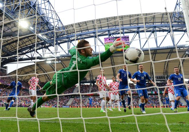 POZNAN, POLAND - JUNE 14:  Stipe Pletikosa of Croatia  fails to stop a goal from a Andrea Pirlo of Italy (not pictured) freekick during the UEFA EURO 2012 group C match between Italy and Croatia at The Municipal Stadium on June 14, 2012 in Poznan, Poland.  (Photo by Jamie McDonald/Getty Images)
