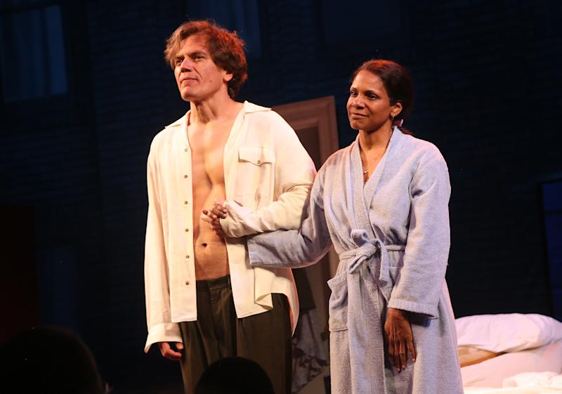 "NEW YORK, NEW YORK - MAY 29: Michael Shannon and Audra McDonald during the curtain call for the revival of ""Frankie and Johnny in The Clair de Lune"" at The Broadhurst Theatre on May 29, 2019 in New York City. (Photo by Bruce Glikas/WireImage)"
