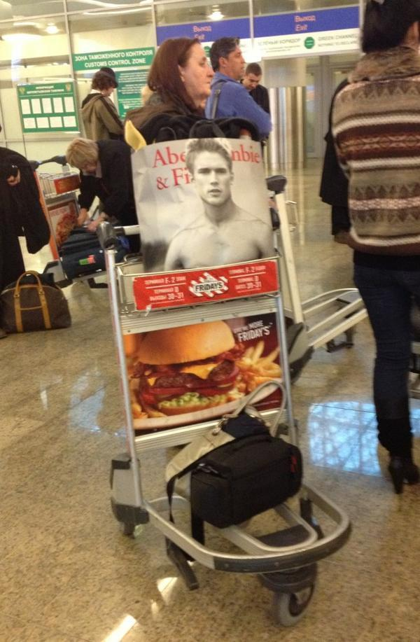 Luggage cart at Moscow airport. Maybe things aren't so different in Russia after all. (#NickInEurope)