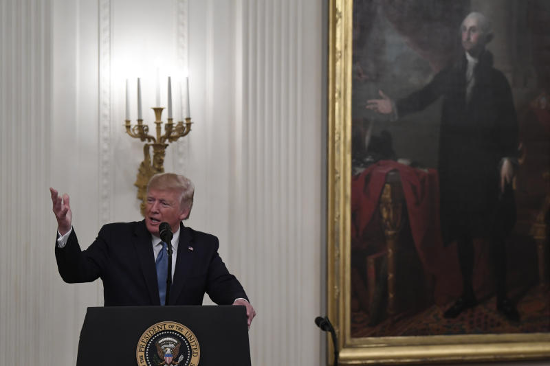 President Donald Trump speaks during a Medal of Honor Ceremony for U.S. Army Master Sgt. Matthew Williams, currently assigned to the 3rd Special Forces Group, in the East Room of the White House in Washington, Wednesday, Oct. 30, 2019. (AP Photo/Susan Walsh)