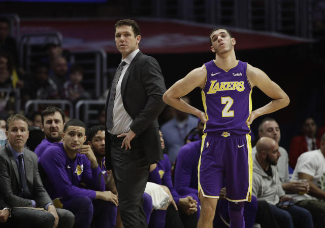 Lakers coach Luke Walton isn't having an easy time with Lonzo Ball on the roster. (AP)