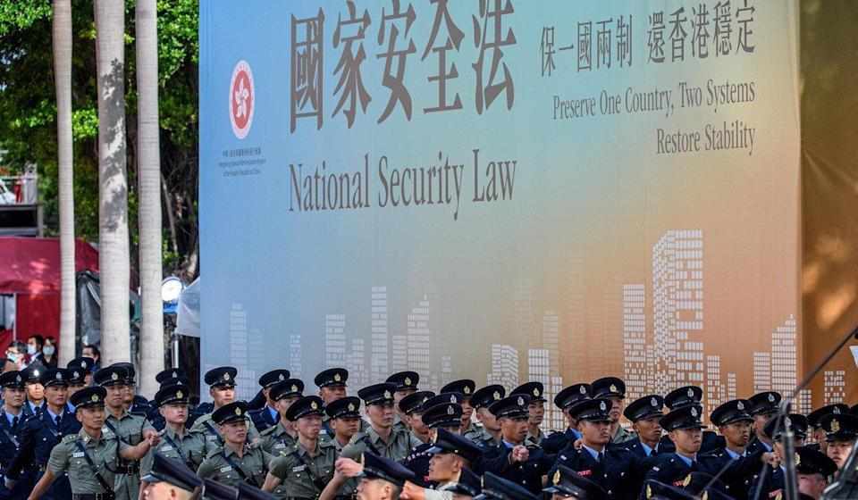 A banner supporting the national security law imposed on Hong Kong was displayed on July 1. Photo: AFP