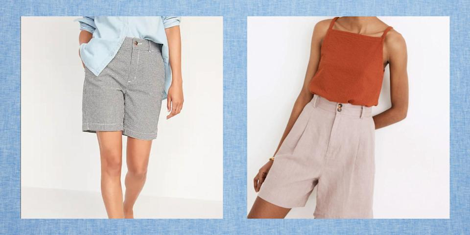 """<p>When it comes to summer wardrobe staples, few pieces are more universally figure-friendly than a perfect pair of high-waisted shorts. There's just something about a rise that hits right at your natural waistline—it's flattering, comfortable, and effortlessly chic! The best high-waisted shorts for women go with pretty much everything, including <a href=""""https://www.thepioneerwoman.com/fashion-style/g32961741/ree-drummond-style-tops/"""" rel=""""nofollow noopener"""" target=""""_blank"""" data-ylk=""""slk:floral blouses"""" class=""""link rapid-noclick-resp"""">floral blouses</a>, <a href=""""https://www.thepioneerwoman.com/fashion-style/g35469755/best-button-down-shirts-for-women/"""" rel=""""nofollow noopener"""" target=""""_blank"""" data-ylk=""""slk:button-down tops"""" class=""""link rapid-noclick-resp"""">button-down tops</a>, and <a href=""""https://www.thepioneerwoman.com/fashion-style/g32465478/best-chambray-shirt-for-women/"""" rel=""""nofollow noopener"""" target=""""_blank"""" data-ylk=""""slk:chambray shirts"""" class=""""link rapid-noclick-resp"""">chambray shirts</a>. They can be dressed up with <a href=""""https://www.thepioneerwoman.com/fashion-style/g32463219/comfortable-wedges/"""" rel=""""nofollow noopener"""" target=""""_blank"""" data-ylk=""""slk:stylish wedges"""" class=""""link rapid-noclick-resp"""">stylish wedges</a>, or down with <a href=""""https://www.thepioneerwoman.com/fashion-style/g34414480/comfortable-sneakers-for-women/"""" rel=""""nofollow noopener"""" target=""""_blank"""" data-ylk=""""slk:comfy sneakers"""" class=""""link rapid-noclick-resp"""">comfy sneakers</a>. And while we love a good pair of <a href=""""https://www.thepioneerwoman.com/fashion-style/g35787078/best-jean-shorts-for-women/"""" rel=""""nofollow noopener"""" target=""""_blank"""" data-ylk=""""slk:jean shorts"""" class=""""link rapid-noclick-resp"""">jean shorts</a>, high-waisted shorts come in all sorts of fabrics, so you can easily add a touch of texture and put-togetherness to your look. In this gallery, you'll find high-waisted shorts in linen, cotton, denim, seersucker, and more.</p><p>Some people shy away from shorts because they """