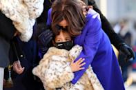 WASHINGTON, DC - JANUARY 20: U.S. Vice President Kamala Harris walks the abbreviated parade route with her great niece Amara after U.S. President Joe Biden's inauguration on January 20, 2021 in Washington, DC. Biden became the 46th president of the United States earlier today during the ceremony at the U.S. Capitol. (Photo by Mark Makela/Getty Images)