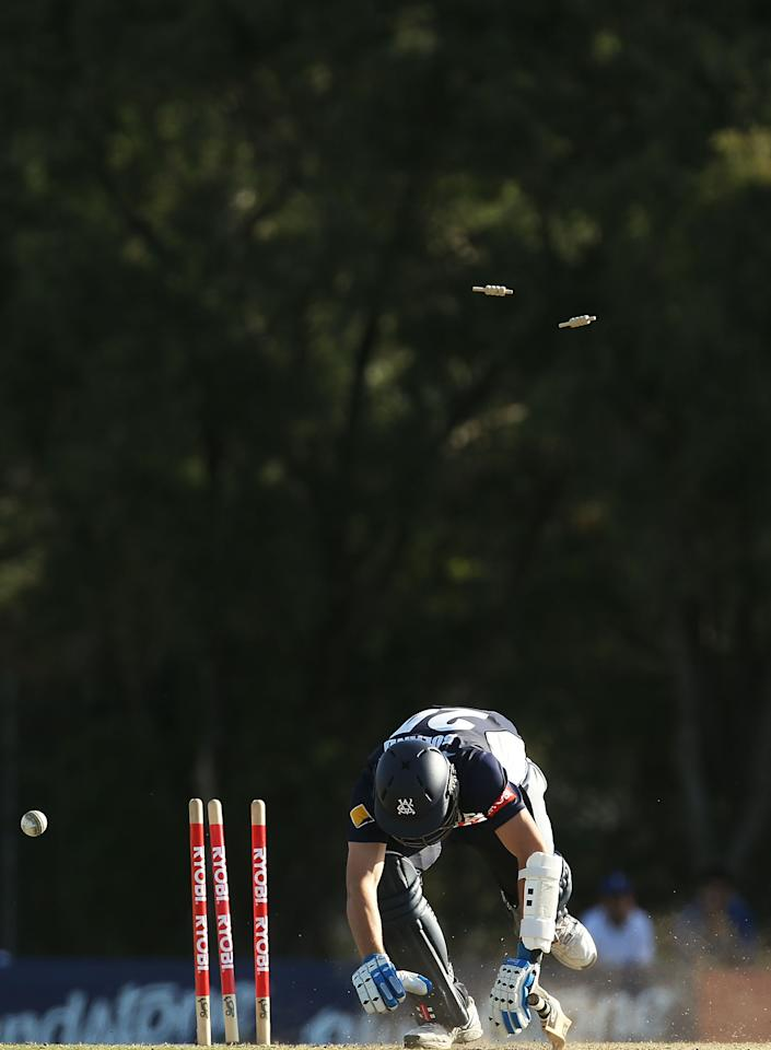 SYDNEY, AUSTRALIA - OCTOBER 07:  Scott Boland of the Bushrangers is bowled by Doug Bollinger of the Blues during the Ryobi Cup match between NSW Blues and Victoria Bushrangers at Bankstown Oval on October 7, 2013 in Sydney, Australia.  (Photo by Mark Metcalfe/Getty Images)