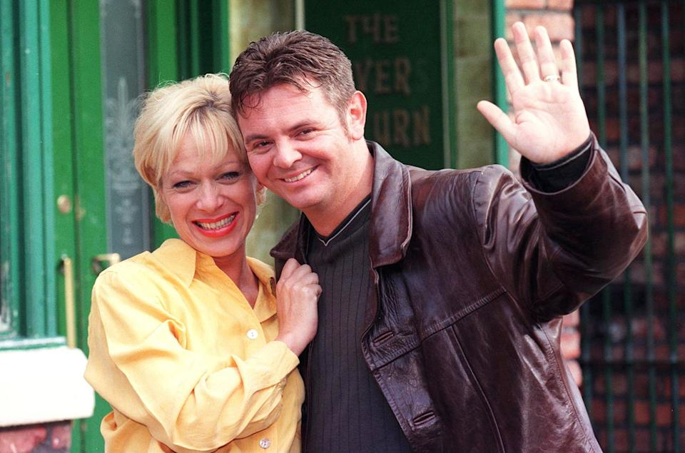 Denise Welch played Natalie Horrocks on Coronation Street for three years. Pictured with her co-star Phil Middlemiss, who played Des Barnes. (Photo by PA Images via Getty Images)