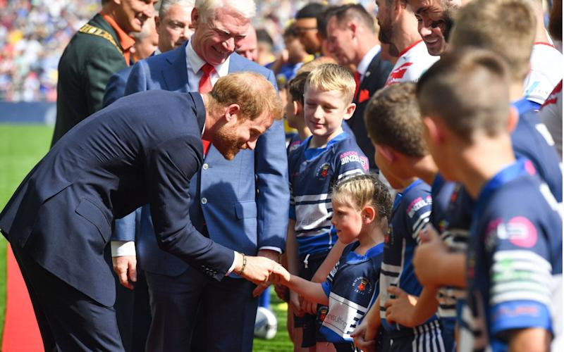 The Duke of Sussex met mascots at the Rugby League Challenge Cup Final at Wembley Stadium on Saturday 24th August. - REX