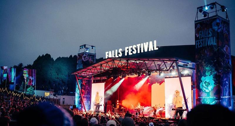 A stage is pictured at Falls Festival.