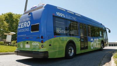 A $200,000 grant from Duke Energy will help the Asheville Redefines Transit (ART) system fund five electric bus-charging stations that were installed by the city earlier this year. Photo courtesy of the City of Asheville.