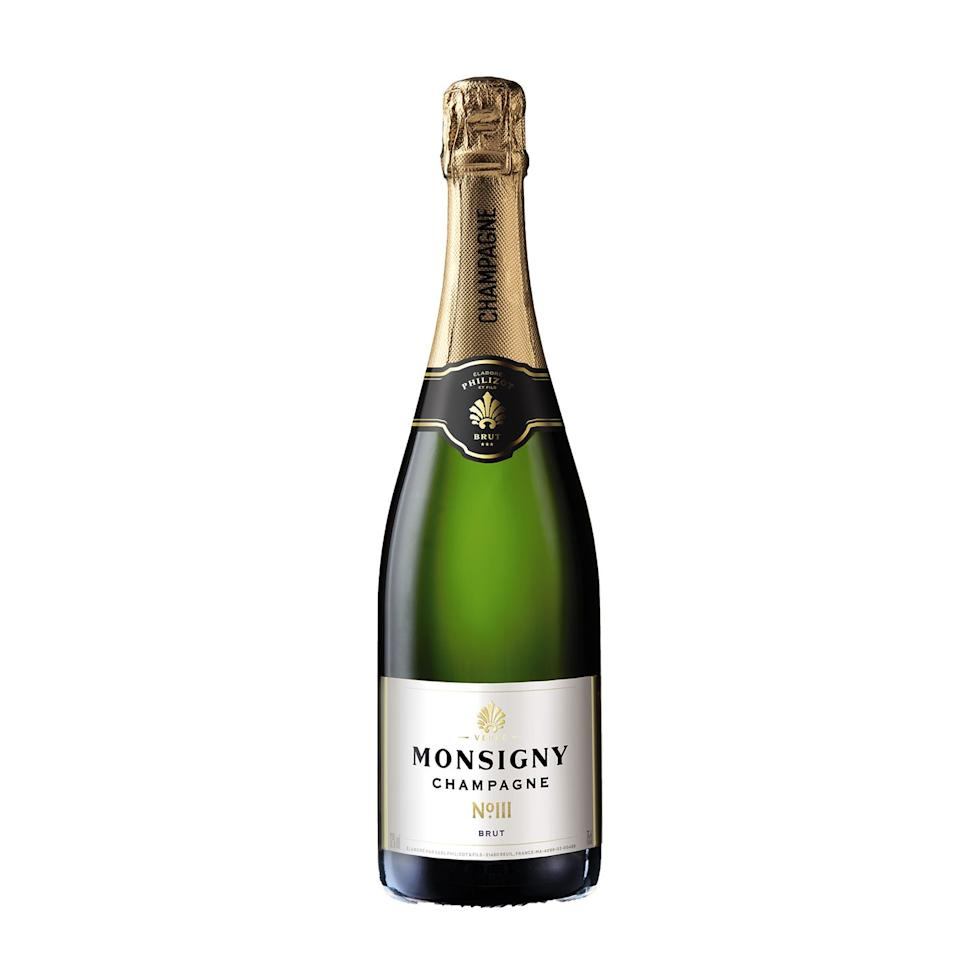 """<p><strong>Overall score: 81/100</strong></p><p>This Champagne is a real crowd-pleaser. The aroma is delicate, with fresh lemon, waxy green apple and a biscuity, yeasty note. The flavour is refreshing, fruity and floral with baked apple and elderflower, and a touch of richness, while the smooth, small bubbles balance out all components well. Pair with tempura canapés.</p><p><a class=""""body-btn-link"""" href=""""https://www.aldi.co.uk/veuve-monsigny-champagne-brut/p/052600004580000"""" target=""""_blank"""">BUY NOW</a> <strong>Aldi, £12.99 per 75cl</strong></p>"""