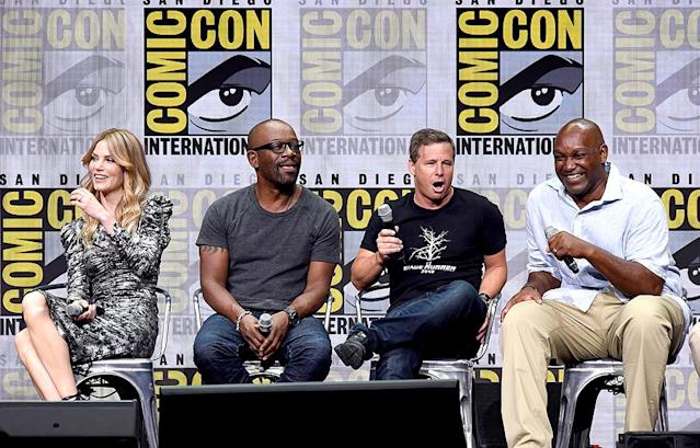 <p>Sylvia Hoeks, Lennie James, and producers Andrew A. Kosove and Broderick Johnson at the Warner Bros. Pictures presentation at Comic-Con on July 22, 2017 in San Diego. (Photo: Kevin Winter/Getty Images) </p>