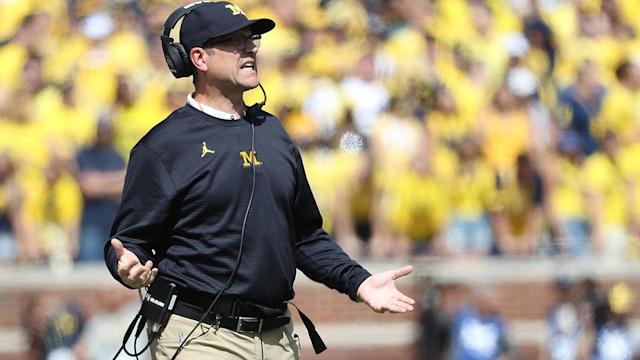 Michigan coach Jim Harbaugh but not as much as he loves his khakis.