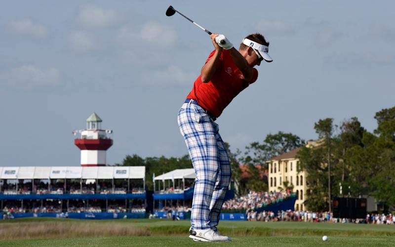 Ian Poulter of England plays his tee shot on the 18th hole during the third round of the 2017 RBC Heritage at Harbour Town Golf Links - Credit: Getty Images