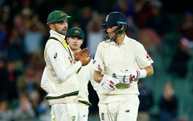 Nathan Lyon, left, and Joe Root exchange words in Adelaide in 2017