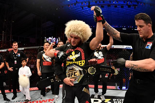 Khabib Nurmagomedov celebrates his submission victory over Dustin Poirier (not pictured) in their lightweight championship bout during UFC 242 at The Arena on Sept. 7, 2019 in Yas Island, Abu Dhabi, United Arab Emirates. (Getty Images)