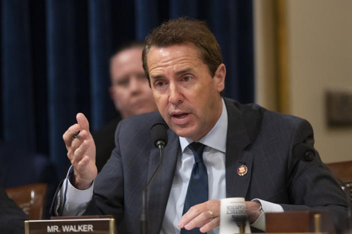 FILE - In this Sept. 18, 2019, file photo, Rep. Mark Walker, R-N.C. speaks during a hearing on Capitol Hill in Washington. With three of North Carolina's 13 U.S. House incumbents not seeking reelection, nearly 30 congressional candidates are scrambling to win Tuesday, March 4, 2020 primaries in these districts with hopes of soon filling the rare number of open seats (AP Photo/Manuel Balce Ceneta, File)