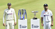 England captain Joe Root, left, and India captain Virat Kohli pose with throphys prior to the first Test Match between England and India at Trent Bridge cricket ground in Nottingham, England, Monday, Aug. 2, 2021. (AP Photo/Rui Vieira)