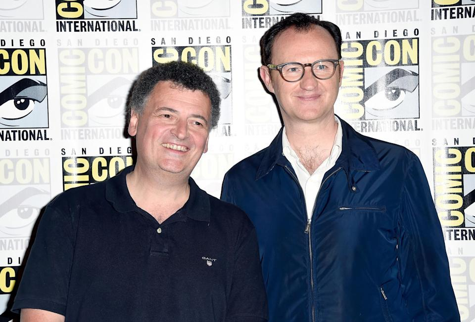 """SAN DIEGO, CA – JULY 24: Writer/producer Steven Moffat (L) and actor/writer/producer Mark Gatiss attend the press call for """"Sherlock"""" during Comic-Con International 2016 at Hilton Bayfront on July 24, 2016 in San Diego, California. (Photo by Frazer Harrison/Getty Images)"""