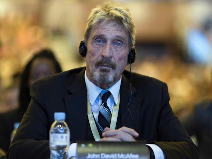 In this Tuesday, Aug. 16, 2016 file photo, the founder of the first commercial anti-virus program that bore his name, John McAfee listens during the 4th China Internet Security Conference (ISC) in Beijing.  (AP)