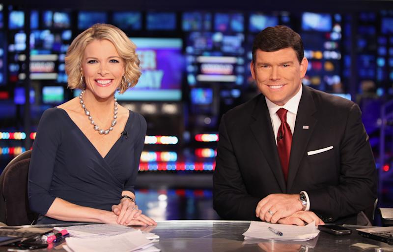 In a March 6, 2012 photo provided by Fox News, Fox News anchors Megyn Kelly and Bret Baier are seated at the anchor desk at the Fox New York Studios.  Four years ago, Megyn Kelly roved the Democratic and Republican convention floors as a reporter for Fox News Channel. Starting Monday, Aug. 27, 2012,  in Tampa, Fla., she'll be in Fox's booth as co-anchor with Bret Baier for the 2012 meetings. (AP Photo/Fox News, Alex Kroke)