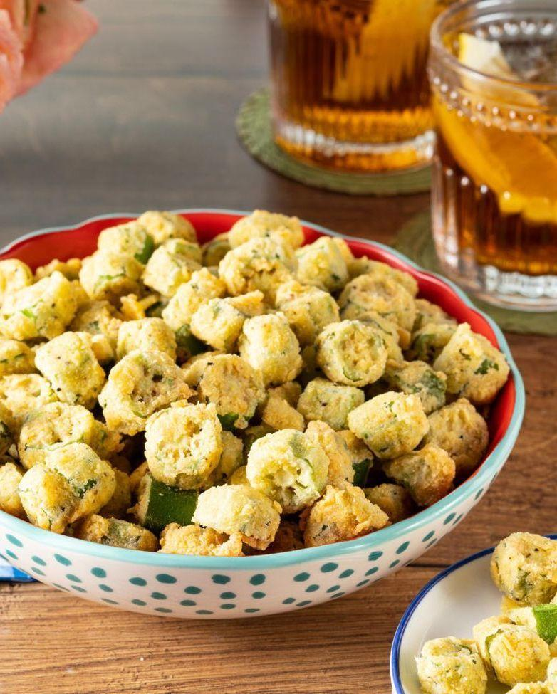 """<p>Did you know that Ree grows okra in her own garden? Fry it up in seasoned cornmeal for a crispy, golden appetizer everyone will rave about.</p><p><strong><a href=""""https://www.thepioneerwoman.com/food-cooking/recipes/a35881049/southern-fried-okra-recipe/"""" rel=""""nofollow noopener"""" target=""""_blank"""" data-ylk=""""slk:Get the recipe"""" class=""""link rapid-noclick-resp"""">Get the recipe</a>.</strong></p><p><a class=""""link rapid-noclick-resp"""" href=""""https://go.redirectingat.com?id=74968X1596630&url=https%3A%2F%2Fwww.walmart.com%2Fbrowse%2Fhome%2Fthe-pioneer-woman-dishes%2F4044_623679_639999_7373615&sref=https%3A%2F%2Fwww.thepioneerwoman.com%2Ffood-cooking%2Fmeals-menus%2Fg32157273%2Ffourth-of-july-appetizers%2F"""" rel=""""nofollow noopener"""" target=""""_blank"""" data-ylk=""""slk:SHOP BOWLS"""">SHOP BOWLS</a></p>"""