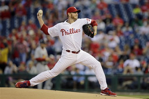 Philadelphia Phillies' Roy Halladay pitches during the first inning of a baseball game against the St. Louis Cardinals, Friday, April 19, 2013, in Philadelphia. (AP Photo/Matt Slocum)