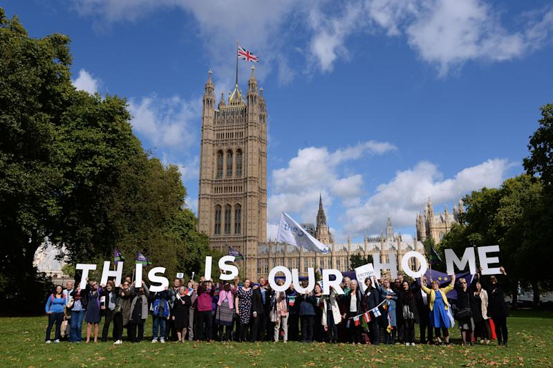EU workers protesting outside Westminster (PA Wire/PA Images)
