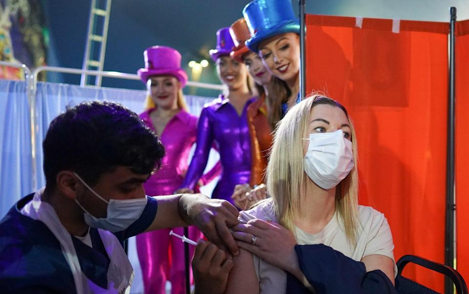 The Government is going all-out to get young people vaccinated - including turning a circus into a pop-up vaccine centre - Getty