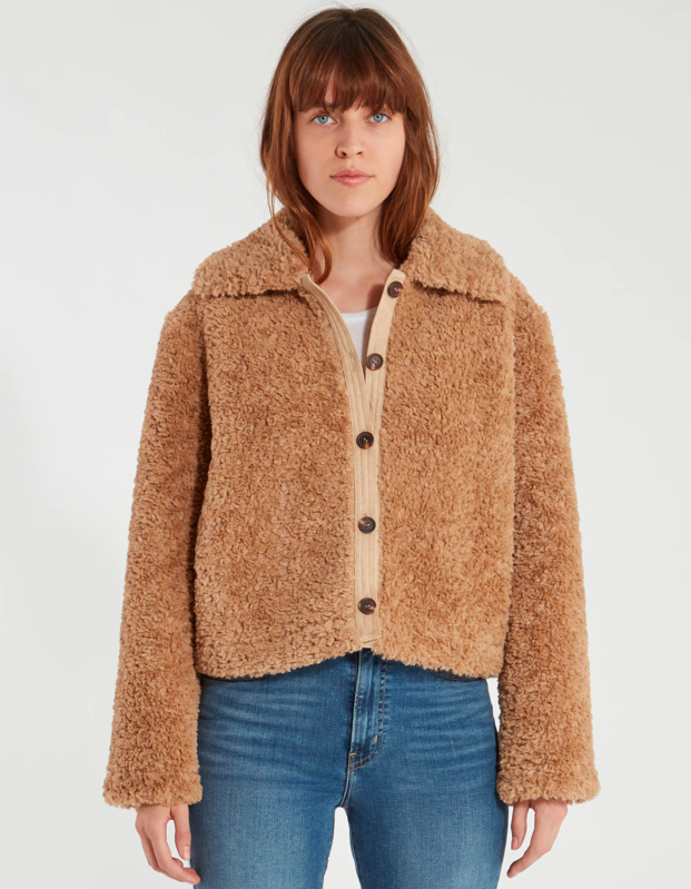 """Another lightweight option, this jacket will help you stay snug when the office gets chilly—and the tortoise-shell buttons give it a cool, retro feel. $198, Verishop. <a href=""""https://www.verishop.com/astr-the-label/coats-jackets-blazers/teddi-jacket/p1640351039523"""" rel=""""nofollow noopener"""" target=""""_blank"""" data-ylk=""""slk:Get it now!"""" class=""""link rapid-noclick-resp"""">Get it now!</a>"""