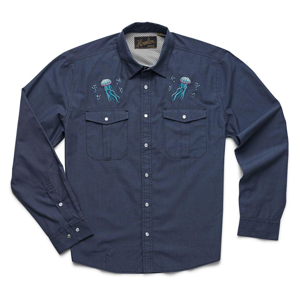 """<p><strong>Howler Brothers</strong></p><p>huckberry.com</p><p><strong>$89.00</strong></p><p><a href=""""https://go.redirectingat.com?id=74968X1596630&url=https%3A%2F%2Fhuckberry.com%2Fstore%2Fhowler-brothers%2Fcategory%2Fp%2F61185-gaucho-snapshirt&sref=https%3A%2F%2Fwww.esquire.com%2Fstyle%2Fmens-fashion%2Fg33483963%2Fhuckberry-summer-sale%2F"""" rel=""""nofollow noopener"""" target=""""_blank"""" data-ylk=""""slk:Buy"""" class=""""link rapid-noclick-resp"""">Buy</a></p><p>Jellyfish, just for you. </p>"""