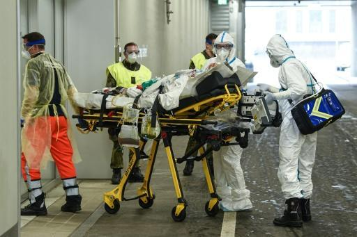 A coronavirus patient from France arrives at the Bundeswehr hospital in Ulm, southwestern Germany
