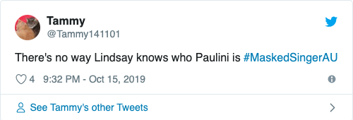 One fan had some serious suspicions when Lindsay got Paulini. Photo: Twitter