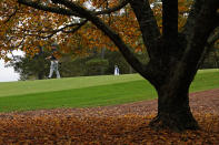 Bryson DeChambeau walks down the fourth fairway during a practice round for the Masters golf tournament Tuesday, Nov. 10, 2020, in Augusta, Ga. (AP Photo/Charlie Riedel)