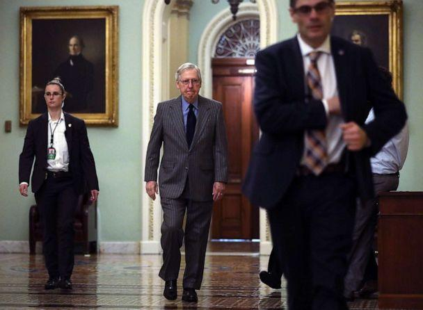 PHOTO: Senate Majority Leader Sen. Mitch McConnell arrives at the U.S. Capitol, Jan. 15, 2020, in Washington. (Alex Wong/Getty Images)