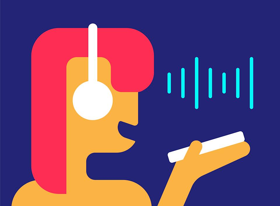 Voice chat. Girl records message on her phone in messenger. Person holds smartphone in her hands with microphone to herself. Vector flat abstract illustration on blue background. Sound waves