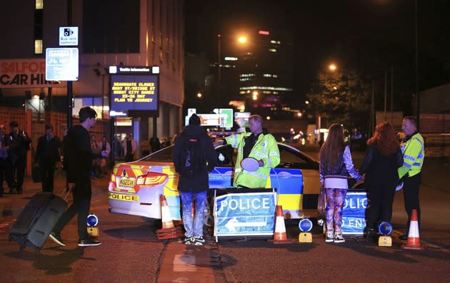 Emergency services at Manchester Arena after reports of an explosion at the venue during an Ariana Grande gig. (Peter Byrne/PA Wire)