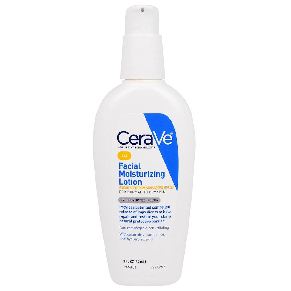 """<p>CeraVe is beloved by dermatologists and skin-care enthusiasts alike for its sheer simplicity. The AM blend is a lightweight, non-greasy formula that sinks in quickly and easily, and looks out for your visage with a bonus SPF 30. Done and done.</p> <p><strong>$19</strong> (<a href=""""https://shop-links.co/1642753107270999384"""" rel=""""nofollow noopener"""" target=""""_blank"""" data-ylk=""""slk:Shop Now"""" class=""""link rapid-noclick-resp"""">Shop Now</a>)</p>"""