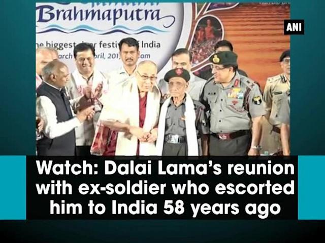 The Tibetan spiritual leader Dalai Lama had an emotional reunion with a retired soldier of the Assam Rifles who had escorted him to India during his escape from Tibet, 58 years ago after the Chinese crackdown. Retired havildar Naren Chandra Das was part of the team to escort the Tibetan spiritual leader safely into India on March 31, 1959. Das is the last known survivor of the group of five Indian army personnel who brought the Dalai Lama on Indian soil. Das was around 20-year-old when he met the Dalai Lama, who was 23 years old at that time, on the Mc Mohan line that marks India's northern border. The reunion took place at a programme of the Namami Brahmaputra in Assam's Guwahati on Sunday. The 14th Dalai Lama is on a two-day visit to the state ahead of his visit to Arunachal Pradesh. The trip by Dalai Lama, whom the Chinese regard as a dangerous separatist, is expected to ratchet up tensions between New Delhi and Beijing over strategic issues.