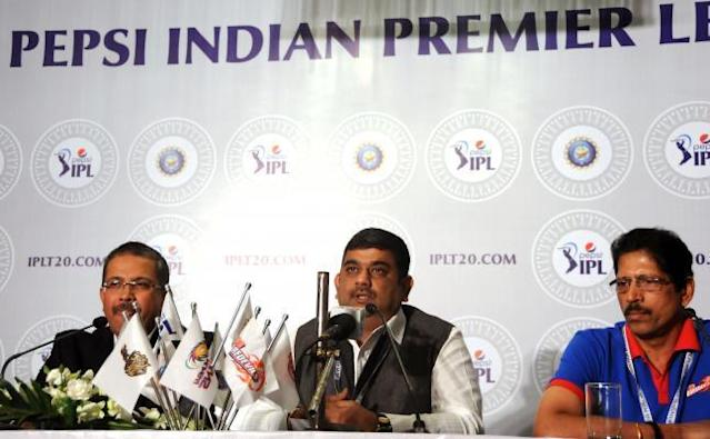 IPL Chairman Ranjib Biswal with Kolkata Knight Riders (KKR) MD and CEO Venki Mysore and member of Delhi Daredevil`s team management Thirumalai Sekhar during the two-day player auctions for the seventh edition of the Indian Premier League(IPL) in Bangalore on Feb.12, 2014. (Photo: IANS)