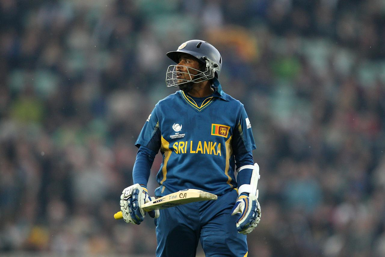 Sri Lanka's Tillakaratne Dilshan leaves the field after being dismissed during the ICC Champions Trophy match at The Kia Oval, London.