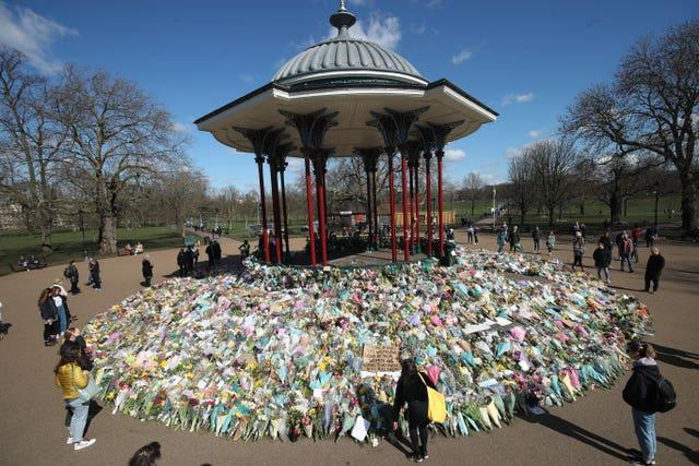 Floral tributes for Sarah Everard near the bandstand on Clapham Common