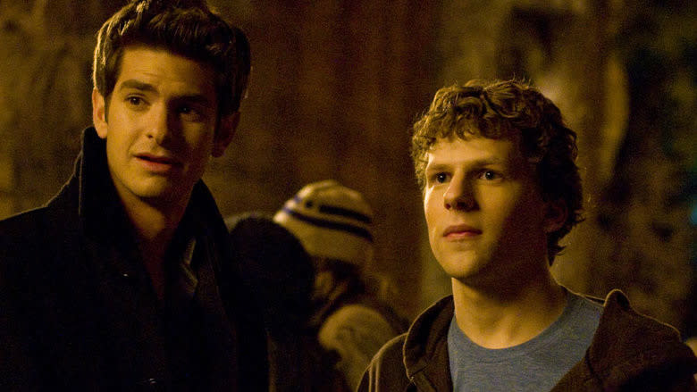 Andrew Garfield and Jesse Eisenberg in 'The Social Network'. (Credit: Columbia Pictures)