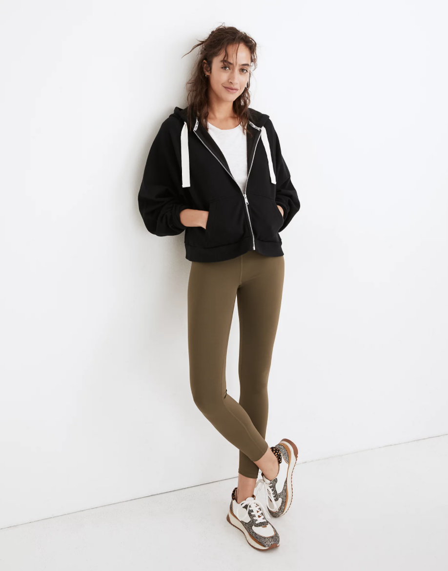 """<h2>MWL Form High-Rise 7/8 Leggings</h2><br><strong><em>Overall Score:</em></strong> 4.75<br><br><strong>Stretch: </strong>5<br>I've found that with many highly compressive leggings, putting on a brand-new pair can be an exercise in self-doubt. Like, <em>are</em> these my size? Why are they so hard to get on? However, once I got these properly positioned on my bod, they yielded to my every move with nary a protest and I felt free as a bird.<br><br><strong>Sweat-wicking:</strong> 4<br>Is it very embarrassing if I admit that I didn't actually sweat much in these? In other words, I'm just getting back into the exercise saddle after having a baby, um, almost a year ago, so my weekly jogs have been a little ... light. Plus, I road-tested these bad boys in 30-degree temps, so overall I didn't have much sweatiness to show. But perhaps this is a testament to the wicky properties of this pair — they absorbed any trace of sweat before I could even detect it?<br><br><strong>MWL</strong> Form High-Rise 7/8 Leggings, $, available at <a href=""""https://go.skimresources.com/?id=30283X879131&url=https%3A%2F%2Fwww.madewell.com%2Fmwl-form-high-rise-7%252F8-leggings-MC196.html%3Fdwvar_MC196_color%3DGR7199"""" rel=""""nofollow noopener"""" target=""""_blank"""" data-ylk=""""slk:Madewell"""" class=""""link rapid-noclick-resp"""">Madewell</a>"""