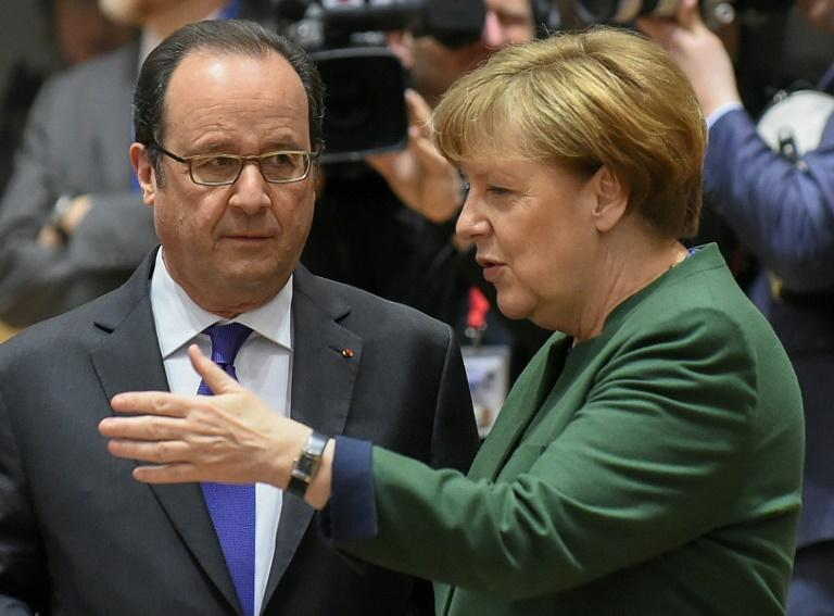 "In a joint statement, French President Francois Hollande (L) and German Chancellor Angela Merkel said that Assad bore ""sole responsibility"" for the US strike following the suspected chemical attack"